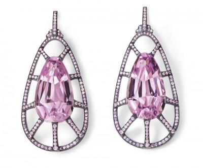 HEMMERLE-earrings-kunzite-pink sapphires-blackened silver-whit gold