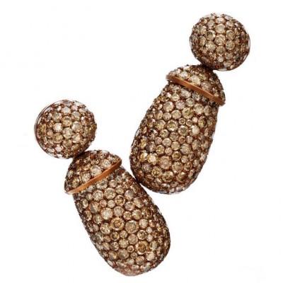HEMMERLE-earrings pendants set with 620 brown diamonds-white gold-copper