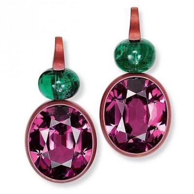 HEMMERLE-earrings-rhodolites-emeralds-copper-white gold