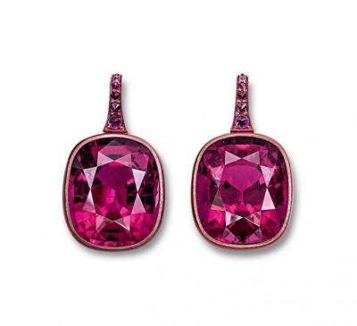 HEMMERLE-earrings-rubellites-sapphires-white gold-copper