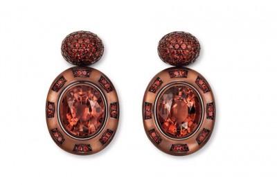 HEMMERLE-earrings-tourmalines-garnets-copper-white gold