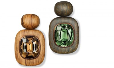 HEMMERLE-earrings-tourmalines-pock and olive wood, copper, gold