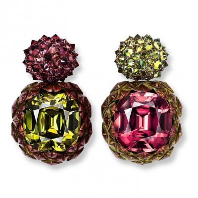HEMMERLE-earrings-zircons-sapphires-demantoid garnts-bronze-white gold