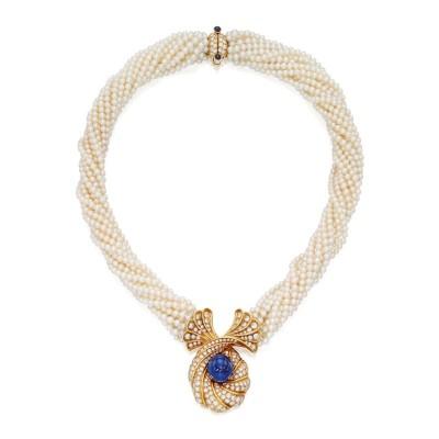 #Harry Winston #pearls #sapphire #diamonds #necklace