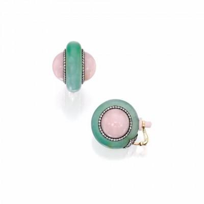 JAR-ear clips-diamonds-chrysoprase-pink quartz