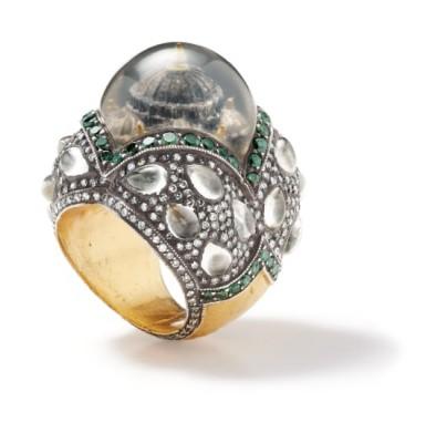 #SEVAN BICAKI #Rock Crystal #Colored Diamond #Diamond #Gold #Silver #'Oh God, Let it Rain' #Ring #Quartz #Diamants de couleur #Or #Argent
