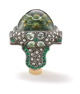 #SEVAN BICAKI #Rock Crystal #Diamond #Chrysoberyl #Emerald #Gold #Silver #'Blue Mosque' Ring #Cristal de roche #Emeraude #Or #Argent #Bague