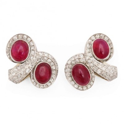 #SUZANNE BELPERRON #Burma Ruby #Diamond #Earrings #Platinum #Rubis birmans #Diamants #Boucles d'oreilles #Circa 1950