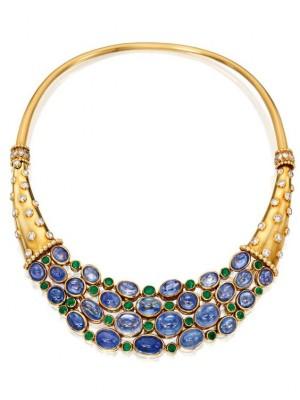 #SUZANNE BELPERRON #calcedoine #Emeraude #Diamant #Chalcedony #Emezrald #Diamond #Collier #Collar
