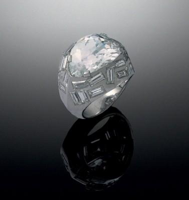 #SUZANNE BELPERRON#Bague 'L'Oeil de Bouddha' #diamant rose pâle #1936  #platine #diamants blancs taille baguette #pink diamond #diamonds