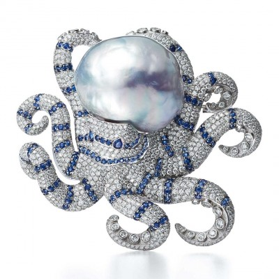 #TIFFANY #Diamonds #Pearl #sapphires #Brooch #2016