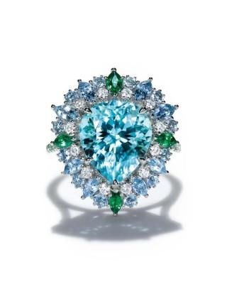 #TIFFANY #Diamonds #blue cuprian elbaite tourmaline #aquamarines #tsavorites #diamonds #platinum #2015