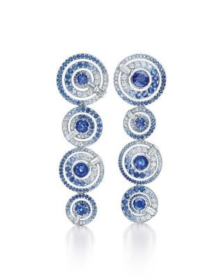 #TIFFANY #Diamonds #blue sapphires #earrings