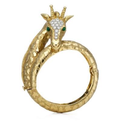 TIFFANY #GiraffeGoldBraelet #Diamonds #Emeralds #1969