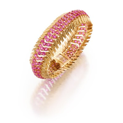 #TIFFANY #Gold and Pink Sapphire Bracelet