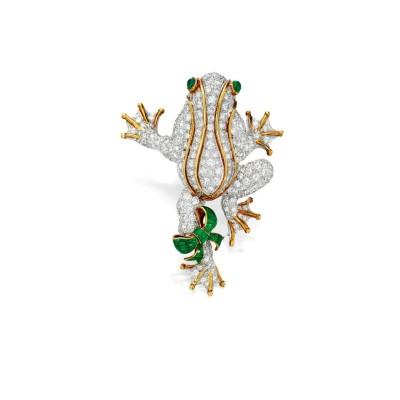 #TIFFANY #Plique-à-jour #Emeralds #Enamel #Diamonds #Brooch