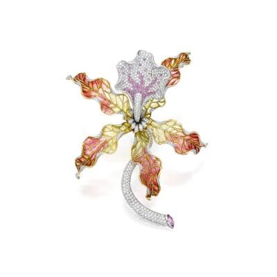#TIFFANY #Plique-à-jour #Enamel #Diamonds #PinkSapphires #Brooch