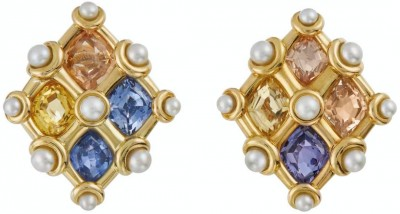 #JAR # MULTI-COLORED -SAPPHIRES #PEARL #EARRINGS #pearls #18kyellowGgold #1982