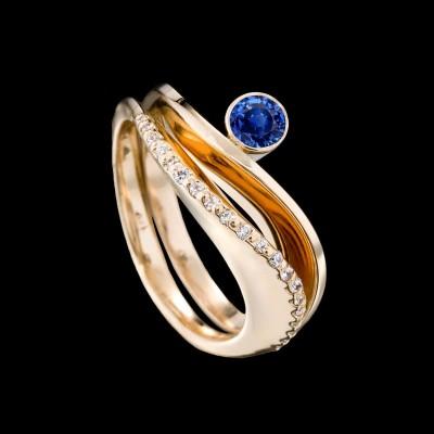 ADAM NEELY #BlueSapphire #diamonds #ring #gold