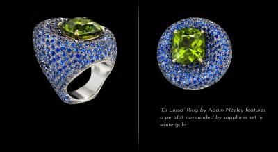 ADAM NEELY #BlueSapphires #peridot #ring #gold #2012
