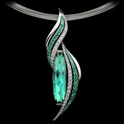 #ADAM NEELEY #EmeraldFlamePendant #Tourmaline #cut by Stephen Avery #Emeralds #Diamonds #WhiteGold