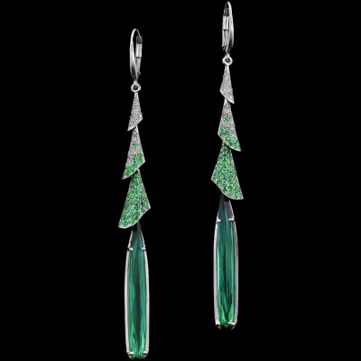 ADAM NEELY #tourmaline #emerald #diamond #earrings #gold