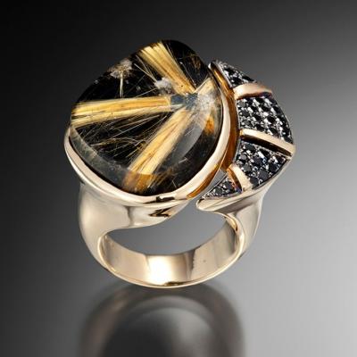 Adam NEELEY-Bague Evening Star-quartz rutile-onyx noir- diamants noirs