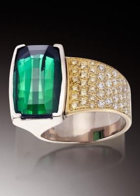 Adam NEELEY-Bague Verde-tourmaline-diamants jaune et blanc-yellow and white diamonds