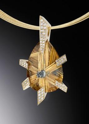 Adam NEELEY-Pendentif Golden Star-quartz rutile-diamants