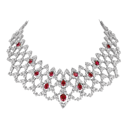 "Collier illusion, ""Burmalite"" rouge rubis - Illusion collar, rubis red ""burmalite"""