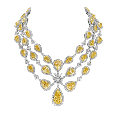 "Collier royal, ""Burmalite"" jonquille - Royal collar, daffodil ""burmalite"""