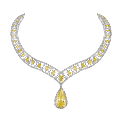 "Collier virtuose, ""Burmalite"" jonquille - Virtuose collar, Daffodil ""Burmalite"""