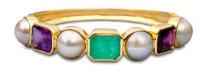 ISABELLE LANGLOIS-bracelet Charlemagne-perles-emeraude-amethyste