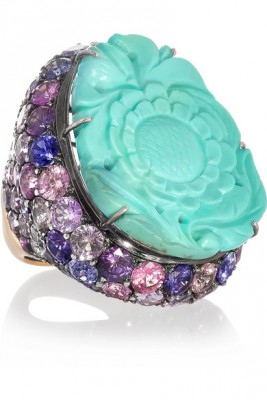 LYDIA COURTEILLE-sapphires-carved turquoise - saphirs - turquoise  gravée