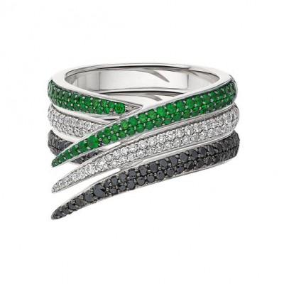 #SHAUN LEANE #TWhite and black diamonds #Tsavorite garnets #ring