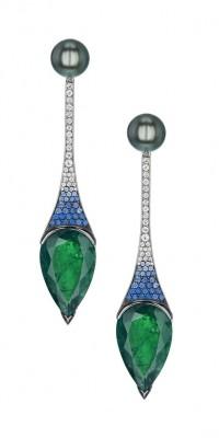 #SHAUN LEANE #Tahitian Pearl #Emerald #Diamonds #Sapphires #Earrings