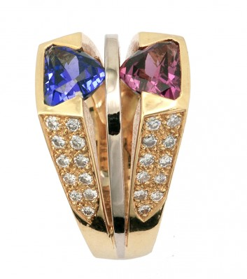 SIKIRDJI Laurent-bague-or jaune-diamants-rhodolite-tanzanite