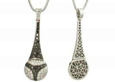 SIKIRDJI Laurent-pendant string-white gold-black diamonds-white diamonds