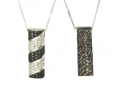 SIKIRDJI Laurent-pendant-white gold-black diamonds-white diamonds
