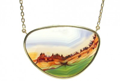 SIKIRDJI Laurent-pendentif-agate paysage-or jaune-serti clos