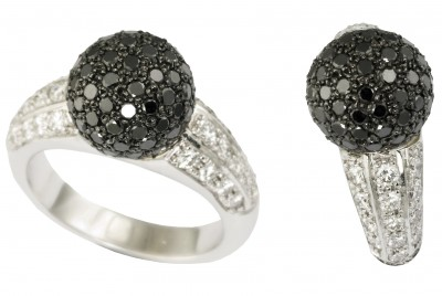 SIKIRDJI Laurent-ring-white gold-black diamonds-white diamonds