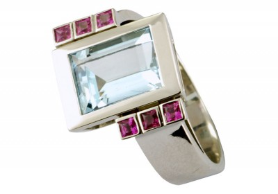 SIKIRDJI Laurent-ring-white gold-pink sapphires-aquamaine