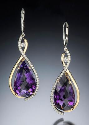 Adam NEELEY-Boucle d'oreille Bellina-améthyste-diamants-earing-amethyst-diamonds