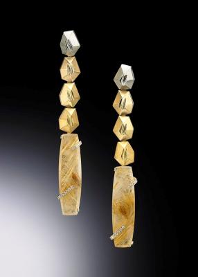 Adam NEELEY-Boucle d'oreille Charisma-quartz rutile-diamants