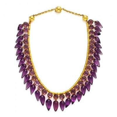 #Amethyst #Améthyste #Gold #Necklace #19th Century