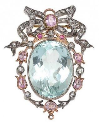 #Aquamarine #Sapphire #Diamond #Pendant #Brooch