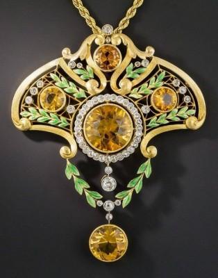 #Art Nouveau #Gold #Enamel #Citrine #Diamond #LavalliereNecklace