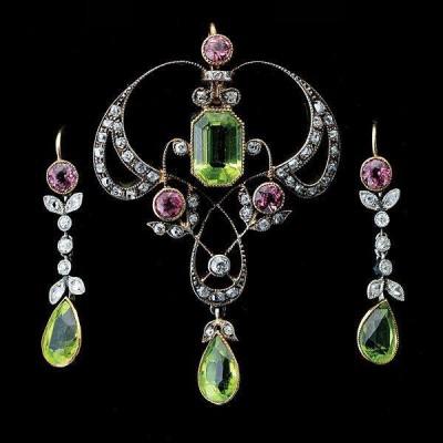 #Art Nouveau #Peridot #Tourmaline #Diamond #SterlingSilver #Gold #JewelrySuite