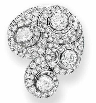 BELPERON-diamants escargot broche 1932-40