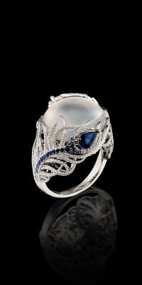 BELPERRON Suzanne-bague-pierre de Lune-diamants-saphirs